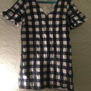 Madewell mini dress large boxy/plaid pattern